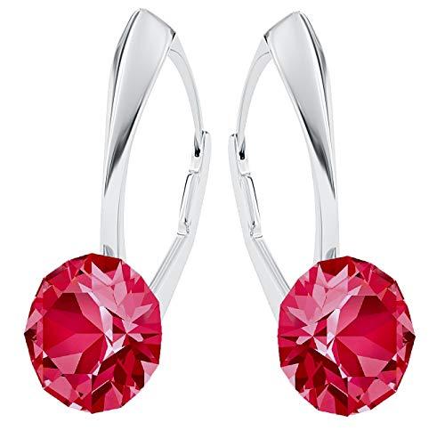 **Beforya Paris** *IMPECCABLE BRILLANTS* Silber 925 *Viele Farben* - Ohrringe mit Kristallen von Swarovski® - Schön Ohrringe Damen Ohrhänger - Wunderbare Ohrringe mit Schmuckbox (Indian Pink)