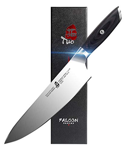 TUO Chef Knife 8 inch - Kitchen Chef Cooking Knife Japanese Gyuto Knife - German HC Steel with Pakkawood Handle - FALCON SERIES with Gift Box