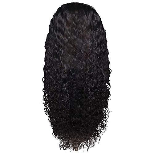 Peluca de pelo humano rizado peruano, sin pegamento, con encaje frontal, cabello humano sin pegamento, para mujeres negras con pelo de bebé Queen Plus