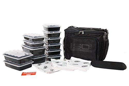 Isolator Fitness 6 Meal ISOCUBE Meal Prep Management Insulated Lunch Bag Cooler with 12 Stackable Meal Prep Containers, 3 ISOBRICKS, and Shoulder Strap - MADE IN USA (Blackout)