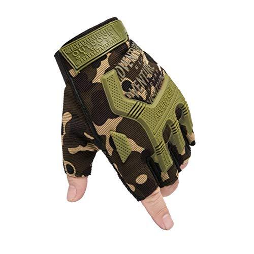 Deportes medio dedo guantes guantes transpirables antideslizantes guantes de ciclismo, guantes a prueba de golpes sin dedos para montar en bicicleta ciclismo bicicleta camping senderismo escalada apti
