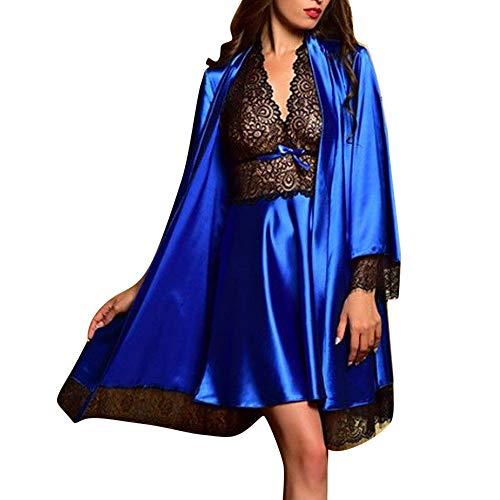 LuckyGirls 2pcs Femmes Sexy Satin Dentelle vêtements de Nuit Babydoll Lingerie Lingerie de Nuit Pyjama Ensemble(Bleu,Large)
