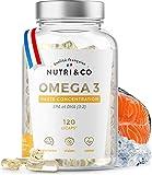 Omega-3 Huile de Poissons Sauvages Concentrées 120 Gélules | Fish Oil 1500mg Pure | EPA DHA Vitamine E | Capsules Licaps Odeur Fraîche | Pêche Durable | Fabriqué en France | Nutri&Co®