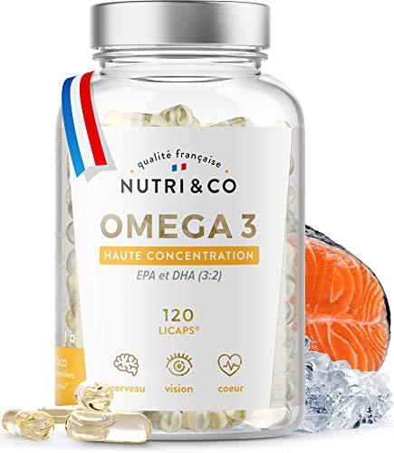 Omega-3 Huile de Poissons Sauvages Concentrées 120 Gélules   Fish Oil 1500mg Pure   EPA DHA Vitamine E   Capsules Licaps Odeur Fraîche   Pêche Durable   Fabriqué en France   Nutri&Co®