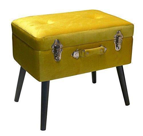Pusher - Baúl reposapiés, madera, amarillo, 41 x 30 x 58 cm