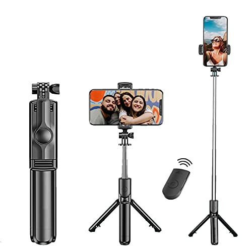 Tygot Bluetooth Extendable Selfie Sticks with Wireless Remote and Tripod Stand, 3-in-1 Multifunctional Selfie Stick with Tripod Stand Compatible with iPhone/OnePlus/Samsung/Oppo/Vivo and All Phones