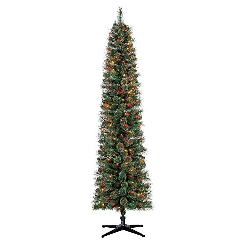 Home Heritage 7 Foot Pre-Lit Skinny Artificial Stanley Pencil Pine Christmas Tree with Multicolored Lights, Foldable Stand, and Easy Assembly