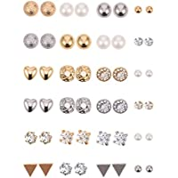 24-Pairs BBTO Crystal Pearl Earring Set (Silver and Gold)
