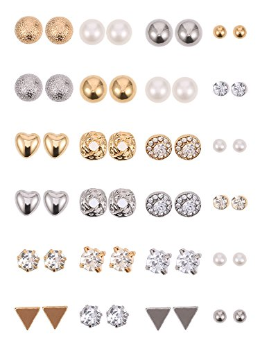 BBTO 24 Pairs Stud Earrings Crystal Pearl Earring Set Ear Stud Jewelry for Girls Women Men, Silver and Gold (Sliver & Gold)