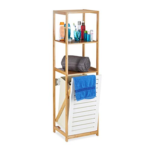 Relaxdays Estantería de Baño con Cesto para Colada, Bambú-Tela, Beige-Blanco, 130 x 37 x 33 cm