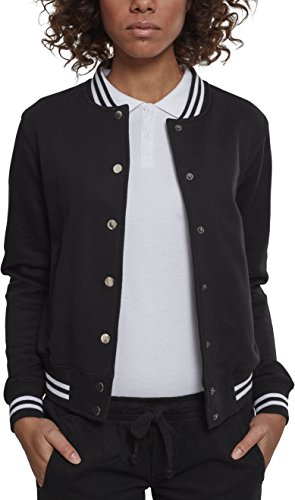 Urban Classics Damen Sweatjacke Ladies College Sweat Jacket,Schwarz,M