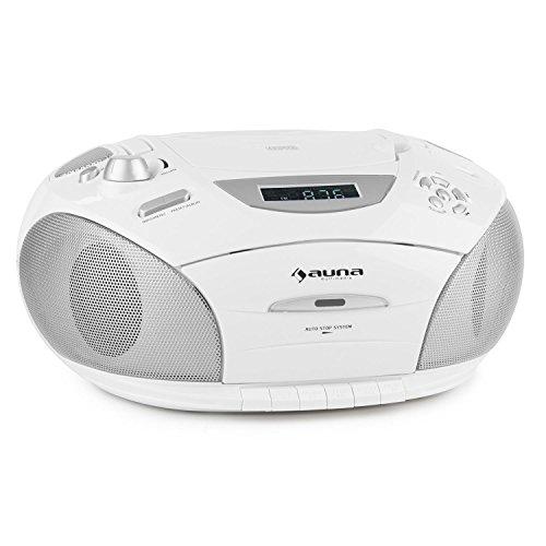 auna RCD 220 - CD-Radio , Minicadena , Radio de Cocina , CD/MP3 , Cassette , Puerto USB Apto MP3 , Sintonizador FM , Entrada AUX para conectar aparatos externos , Dial Digital , Portátil , Blanco