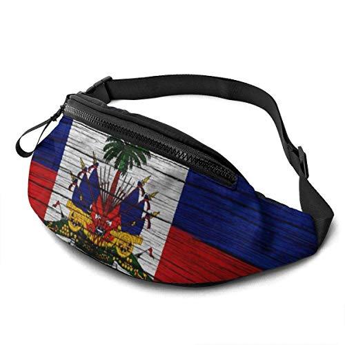 GOSMAO Riñonera Deportivo Bolso Cintura Cinturón Ajustable Running Belt Bolsa de Correr Bandera de Marcha de Textura de Madera de Haití
