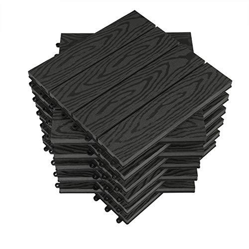 WOLTU WPC Terrassenfliesen Holzoptik Terrassendielen Fliese in Bodenbelag mit klicksystem, für Terrasse und Balkon 30x30 cm im Set Anthrazit (11 Stück / 1 m²)