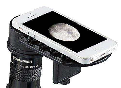Bresser Deluxe smartphone-adapter voor telescoop en microscoop met groot instelbereik van oculairdiameter en flexibele hoogteverstelling via fijne aandrijving, zwart