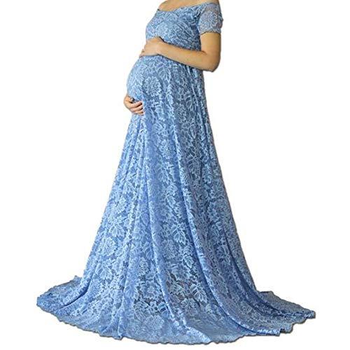 Damen Umstandskleid Spitzenkleid Langes Abendkleid Schulterfrei Carmen V-Ausschnitt Schwangerschaft Fotografie Kleid Mutterschaft Meerjungfrau Umstandmode Schwangere Fotoshooting Kleidung Blau M