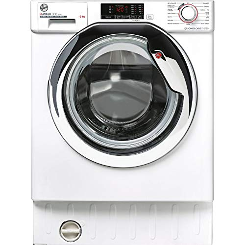 Hoover H-Wash 300 HBWS49D1ACE Integrated Washing Machine, 9KG, 1400RPM, White/Chrome