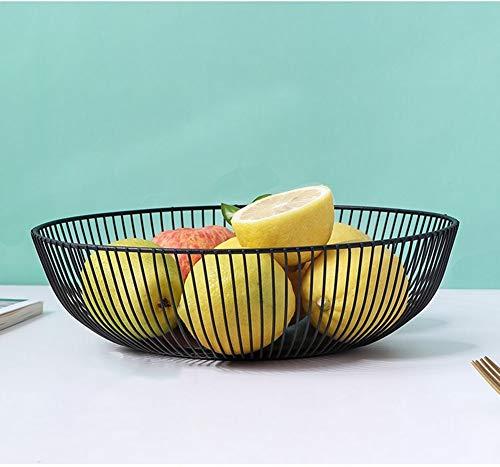 KICCOLY Filo di Metallo Geometrico Nero Decorativo Storage/Display Cesto portafrutta Cesto di Frutta, Forma di Nido Cromato (emisfero)