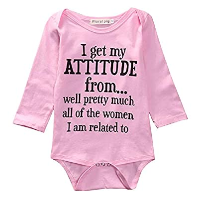 Seyurigaoka Funny Newborn Infant Baby Girls Boys Onesies Short Sleeve Bodysuit Letter Romper Black White Outfits Clothes (Long Sleeve Pink Bodysuit, 0-6M)