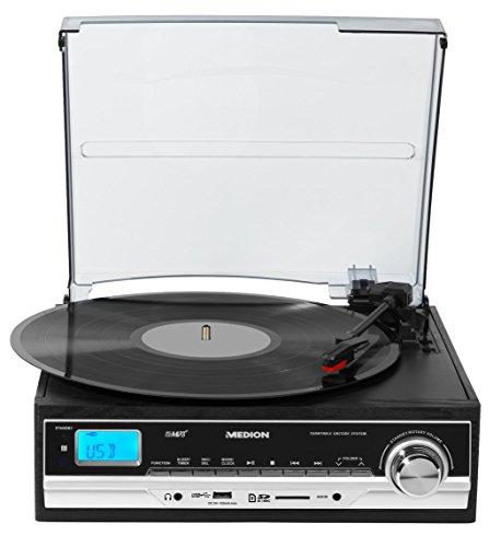 MEDION E69216 (MD 83906) Schallplatten- und Kassettendigitalisierer, MP3-Umwandlung, MP3-Player, Riemenantrieb, 3 Drehgeschwindigkeiten, 2 x 1,5 Watt RMS, schwarz