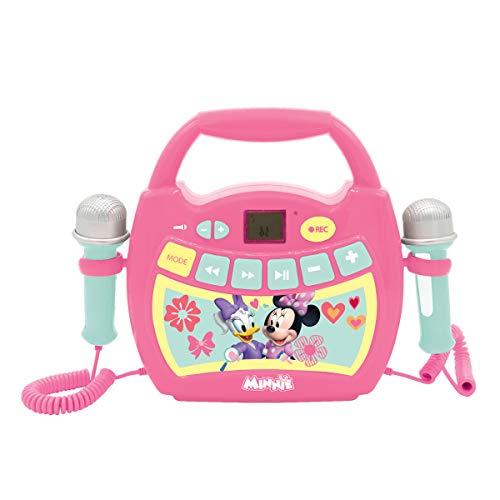 Lexibook - MP300MNZ Disney Minnie, Mein erster Karaoke Musikplayer mit 2 Spielzeugmikrofonen, kabellos, Aufnahmefunktion, Stimmeneffekt, rosa/grün