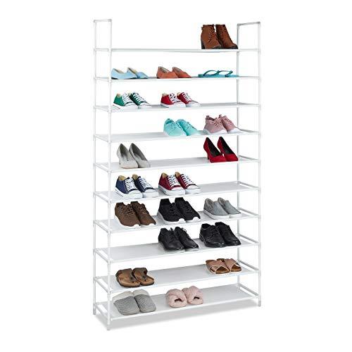 Relaxdays Tela, 5 x 100 x 29 cm, para 50 Pares de Zapatos, 10 Niveles, Sistema de Ranuras, Zapatero XXL, Color Blanco, 175,5x100x29 cm