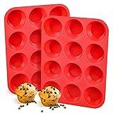 Silicone Muffin Pan, European LFGB 12 Cups Cupcake Pan, 2-Pack Muffin Tin for Muffin, Cupcake, Fat...