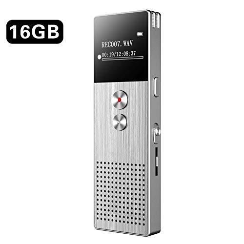 Registratore Vocale Digitale BENJIE 16GB HD Audio Professionale Portatile Registratore Voice Recorder Dittafono con Lettore MP3 di Suoni Espandere la scheda TF 32G per incontri,lezioni,interviste
