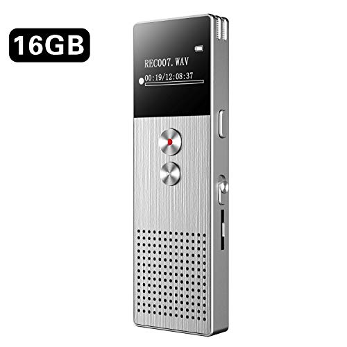 Diktiergerät BENJIE 16G Diktiergerät Digital Voice-Recorder Digitales Diktiergerät MP3, Upgraded Small Tape Recorder mit Doppel Mikrofon Unterstützung TF Card 32G Expand für Lectures Meetings