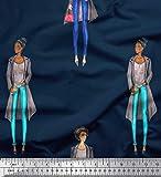 Soimoi Blau Seide Stoff Frau Gruppe Stoff drucken 1 Meter