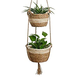 Seagrass Hanging Planters Basket Indoor – Hanging Two Layers Natural Seagrass Basket Flower Pot Holder Containers Storage Organizer with Waterproof Plastic Liner, 41.3 Inch Long(Brown&Beige)