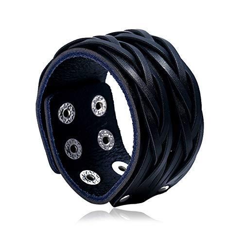 Brazalete de cuero negro de Beyond Dreams - 4 cm de ancho - Pulseras de correa ancha - trenzada - para mujeres y hombres - botones de presión - tamaño ajustable - joyería
