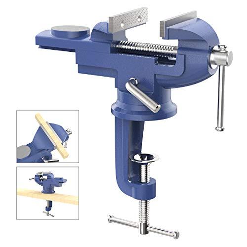 Housolution 360° Drehbar Schraubstock mit Amboss und Achse, 3 Zoll 75 mm Spannweite Tischschraubstock Fixieren Feststehend von Werkstück für Werkbank Ingenieur Werkbank - Blau