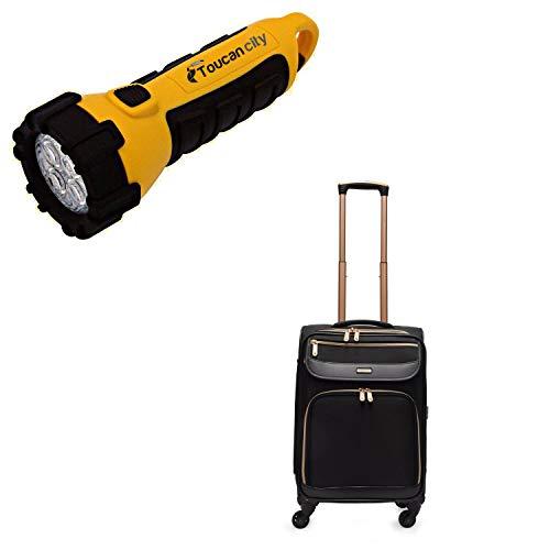 Toucan City LED Flashlight and ADRIENNE VITTADINI Soft Sided 4-Piece Black Luggage Set AVL983-001
