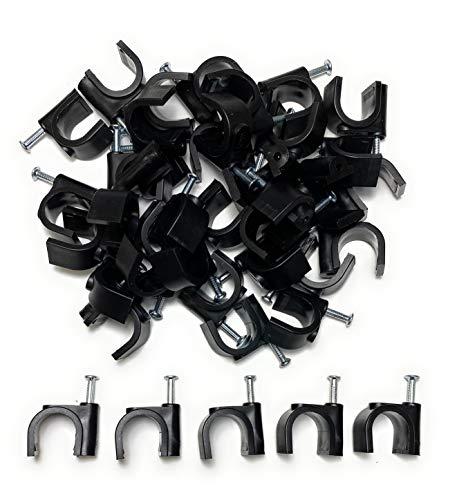 Kabelschellen Nagelschellen für Kabel 14mm, Schwarz 50 Stück