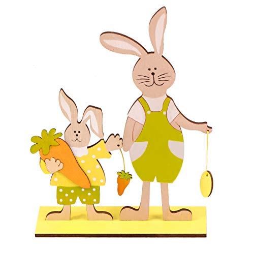 Bluelves Decorazione Coniglietto Pasquale in Legno, Set di 2 Supporti per Decorazioni Pasquali, Decorazioni Pasquali per Esterni, Decorazioni Pasquali da Giardino, 2 Conigli Pasquali