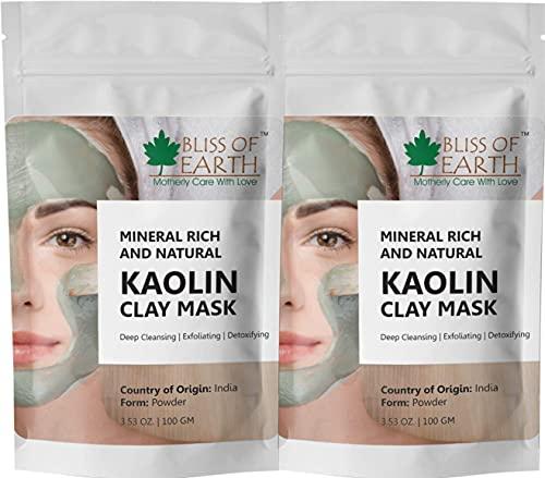 Glamorous Hub Bliss Of Earth 100% poudre de kaolin blanc pur   2X100Gm   Meilleure qualité   Masque facial naturel   Enlever l'excès d'huile et la saleté du visage Idéal produits de déodorant naturel