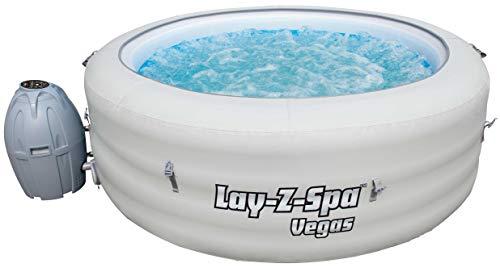 Bestway Lay-Z-Spa Vegas AirJet aufblasbarer Whirlpool für bis zu 6 Personen, rund, weiß, 196 x 61 cm