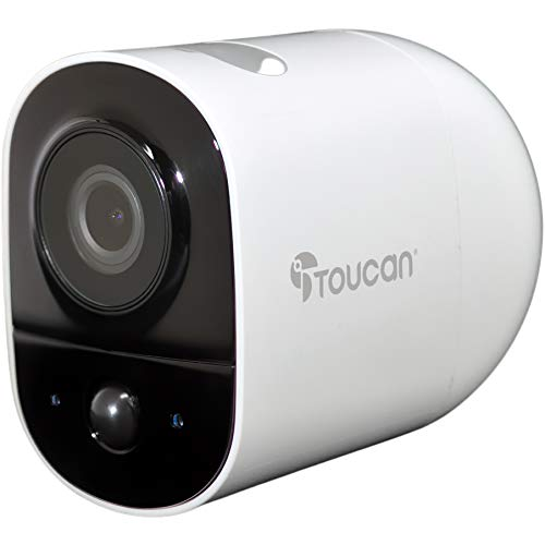 TOUCAN Outdoor Security Camera Wide Angle View 131°, Weather Resistant, Night Vision, WiFi 2.4 Ghz, 1080P HD, Motion Sensor, Built-in Lithium Rechargeable Battery,Surveillance Camera Outdoor Wireless