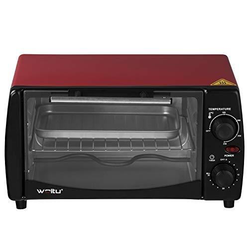 WOLTU BF08rt Mini Backofen 12 Liter Pizzaofen Glastür mit Backblech mit Timer 0-250°C 800 Watt Rot