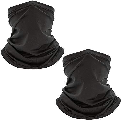 2Pcs Neck Gaiter Face Mask Bandana Dust UV Sun Protection Face Cover Lightweight Breathable Scarf Headwear Reusable Sunscreen Headband Magic Moisture Wicking Motorcycle Balaclava for Women Men(Black)