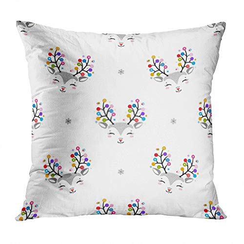 Vooft Throw Pillow Decor Square Snowflakes Reindeer Nose Christmas Lights Antlers Snowflakes Cartoon Doodle Deers 26 x 26 Inch Decorative Cushion Cover Printed Pillowcase Cover Home Sofa Living Room