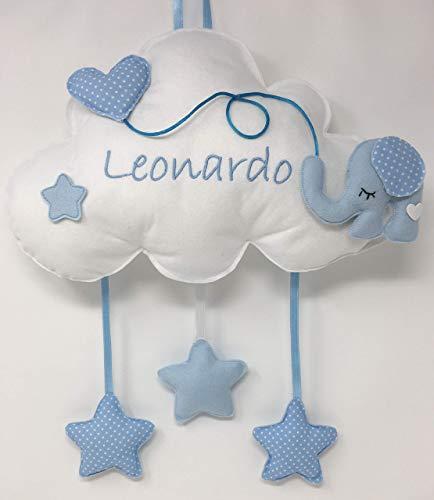 Fiocco nascita Nuvola Elefante - Dolce nuvola soffice con decorazioni a forma di stelle e palloncino a cuore