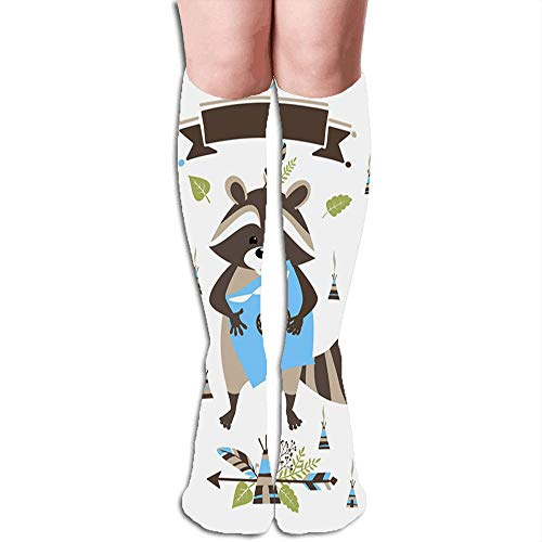 Boho Style Baby Raccoon Standing Pillow Adorable Beauty Compression Socks Women & Men, Best Athletic & Medical Running Flight Travel Pregnant 19.68 Inch