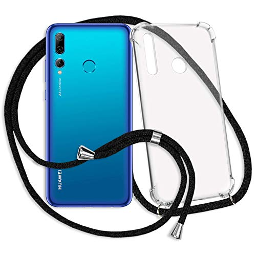 mtb more energy® Handykette kompatibel mit Huawei P Smart Plus 2019, P Smart+ 2019 (6.21'') - schwarz - Smartphone Hülle zum Umhängen - Anti Shock Strong TPU Hülle