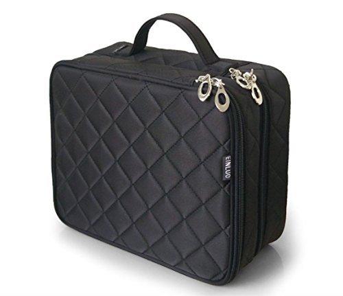 Große Kosmetiktasche, ONEGenug Makeup Tasche, Doppelschicht für Damen, Schminktasche Kosmetikbeutel Kulturtasche Size L, 25 * 20 * 12cm (Größe L schwarz)