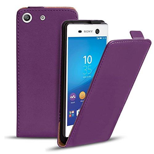 Conie BF38730 Basic Flip Kompatibel mit Sony Xperia M5, PU Leder Hülle Cover Klapphülle für Xperia M5 Tasche Lila