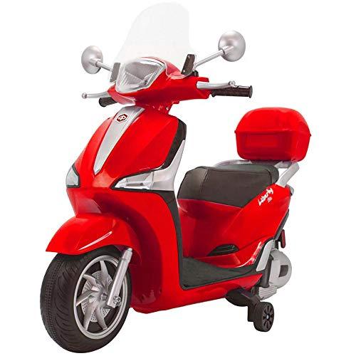 BAKAJI Moto Motocicletta Elettrica per Bambini Liberty 12V con Mp3 Fari Anteriori e Posteriori Funzionanti a LED Batteria Ricaricabile Accellerazione a Pedale 100 x 30 x 80 cm (Rosso)