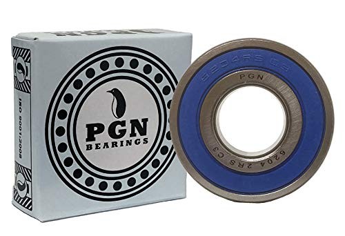 (2 Pack) PGN 6204-2RS Sealed Ball Bearing - C3-20x47x14 - Lubricated - Chrome Steel