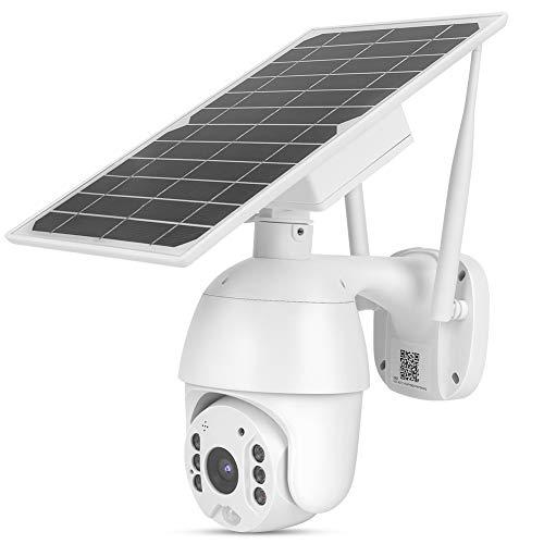 Hopcd Cámara PTZ Solar 4G, HD 1080P 4G Cámara de vigilancia de Seguridad para Exteriores con Detección de Movimiento PIR + IP66 Impermeable + Visión Nocturna a Todo Color,